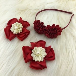 Flower Headband with nice flower ribbon clips
